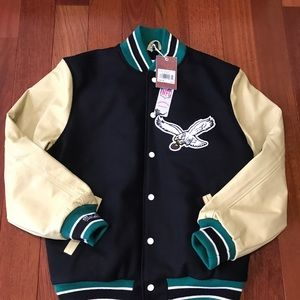 NWT Mitchell & Ness Eagles Leather Wool Varsity L